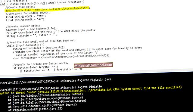 FileNotFoundException di Java